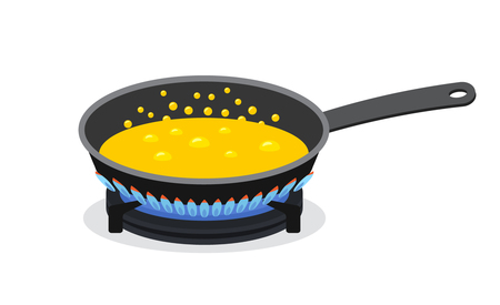sautee: Oil fried on a griddle. flat vector