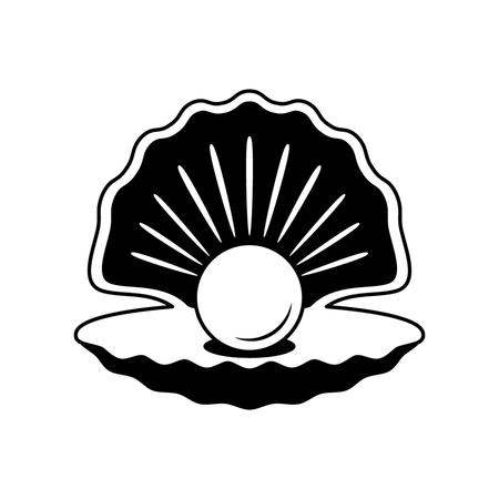 Die schwarze Silhouette einer offenen Muschel mit Perlen. flaches Logo. Illustration Logo