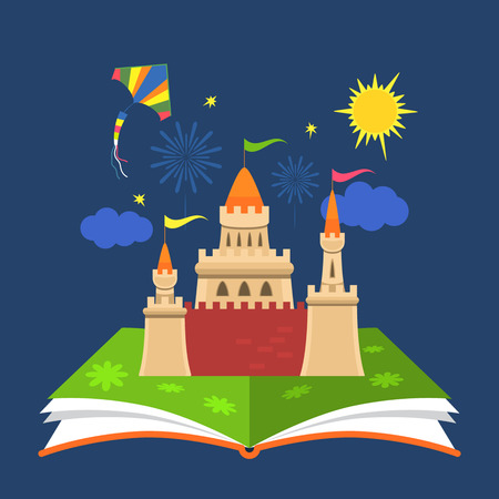 interesting: The concept of the book of fairy tales. Magical characters in the pages. flat vector illustration isolation