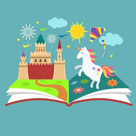 The concept of the book of fairy tales. Magical characters in the pages. flat vector illustration isolation