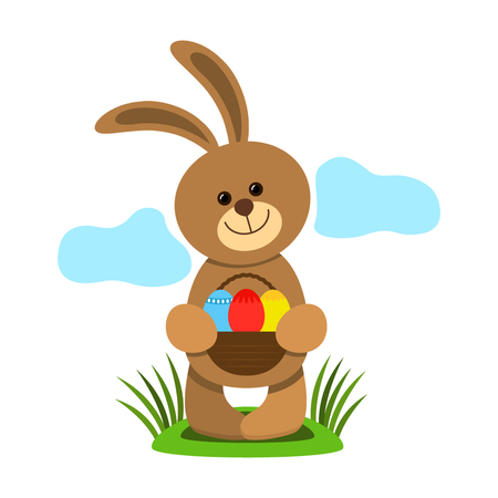 Funny easter bunny holding a basket with eggs. flat vector illustration Illustration