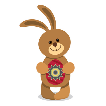 Funny Easter bunny holding egg. flat vector illustration