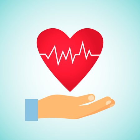 Prevention of a healthy heart. The concept of cardio health. Flat vector illustration