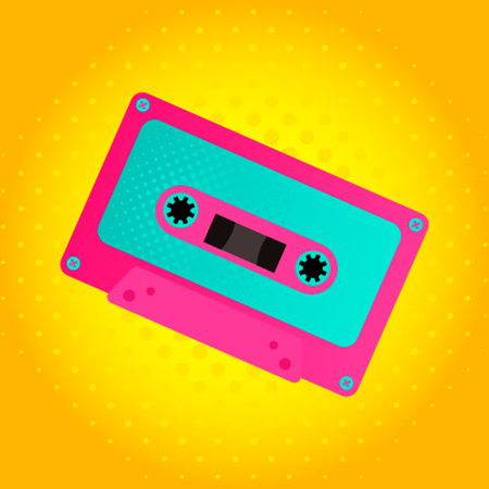 Audio cassette in the retro style of the 80s.