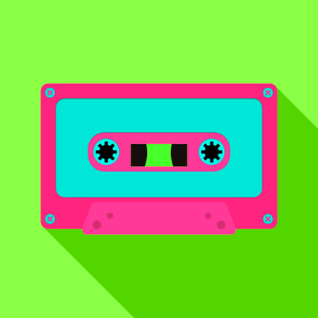 Audio cassette in the retro style of the 80s