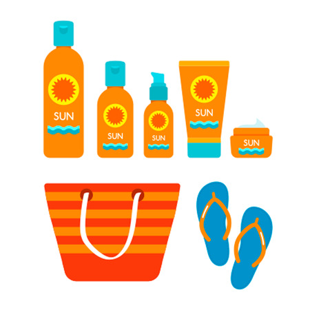 suntan lotion: A set of protective cosmetics for tanning, womens bags and beach shoes