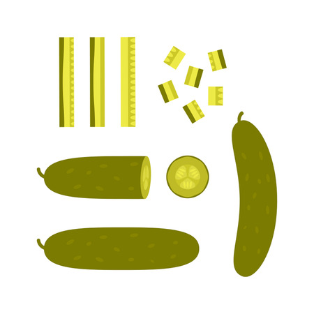Sliced pieces of pickled cucumber. Concept of blanks and pickles.