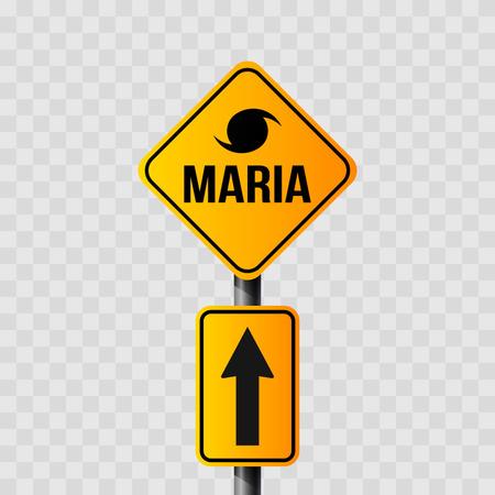 verkeersbord van orkaan Maria, 3D-rendering.