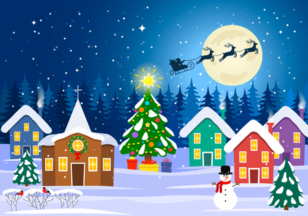 Rural festive landscape with a church, houses and a Christmas tree. Illustration