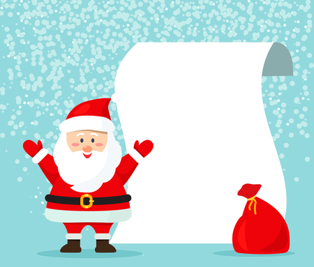 Vector illustration of Santa with an empty Wish List