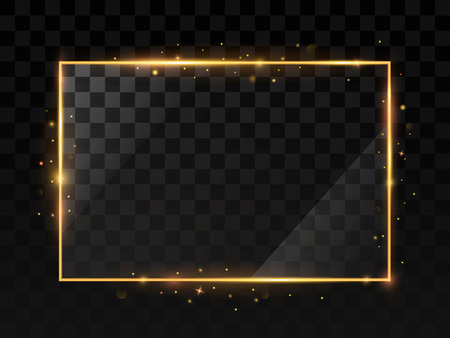 Gold shiny frame on a transparent background. Иллюстрация
