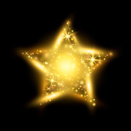 輝く黄金の星  イラスト・ベクター素材