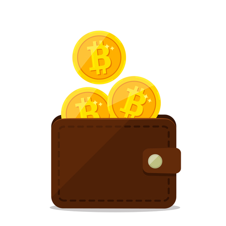 gold bitcoins in a leather purse.