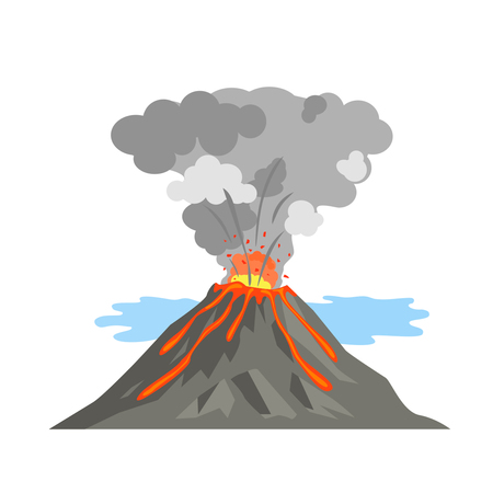 The volcano woke up and spewed out lava. volcanic activity.