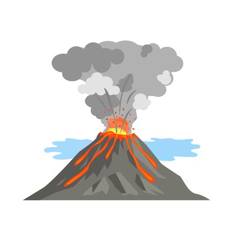 Le volcan s'est réveillé et a craché de la lave. activité volcanique. Banque d'images - 87715169