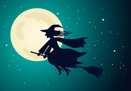 古い魔女が飛ぶ