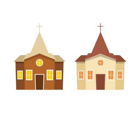 A set of icons of a building of a Christian church.