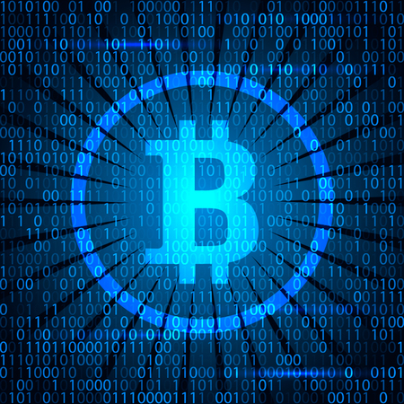 Modern electoron money - crypto currency bitcoin. Banner in modern techno style. Vettoriali