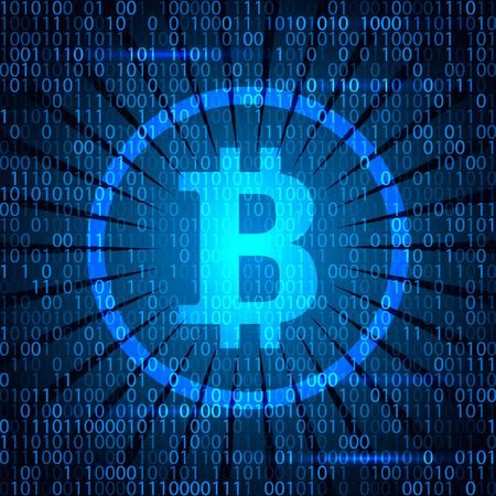 net: Modern electoron money - crypto currency bitcoin. Banner in modern techno style. Illustration