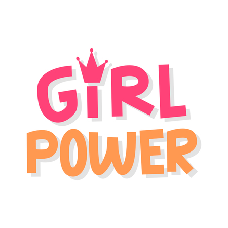 Girl power vector. Inscription with your hands. Illustration