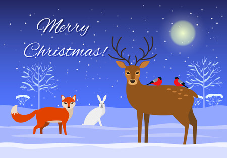 christmas greeting card: Snowy forest with wild beasts in a cartoon style. A greeting card Merry Christmas!