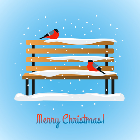 On the snow bench. Greeting card Happy Christmas.