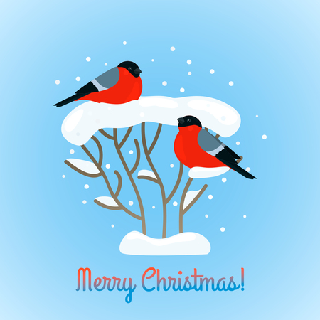 christmas greeting card: A pair of bullfinches are sitting on a snow bush. Greeting card happy christ Illustration