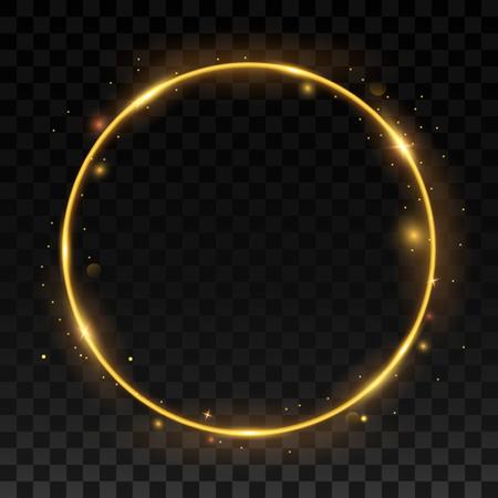 swirl: Gold shiny frame on a transparent background. Illustration