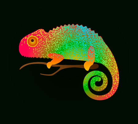 A sweet chameleon is sitting on a branch Illustration