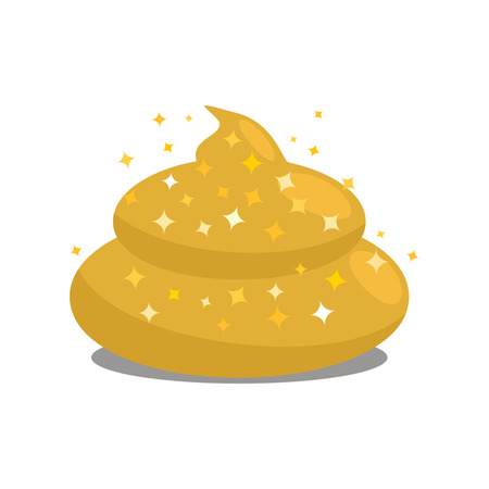 Golden shit. Flat vector isolated on white background Illustration