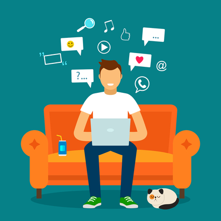 designer: A young man on the couch with the online network.