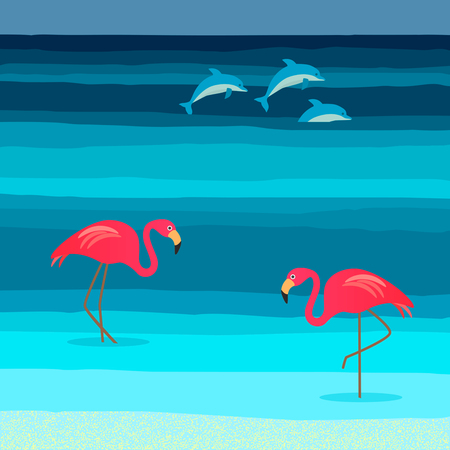 Two pink flamingos on a tropical beach. Concept of vacation.