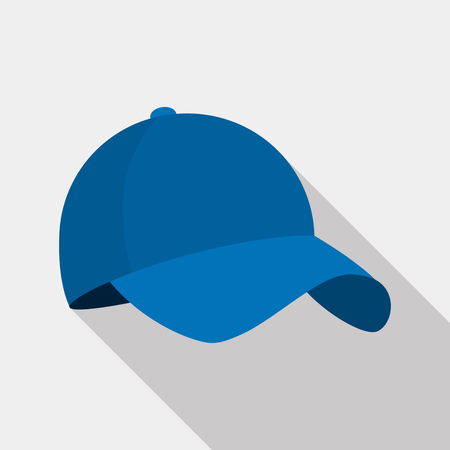 head protection: Baseball cap icon. flat Vector illustration with shadow