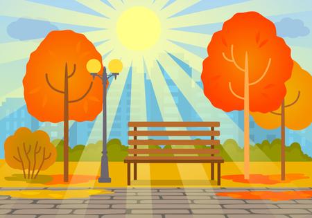 city park skyline: Autumn sunny day in the park. concept of autumn. flat vector illustration