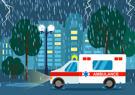 La ambulancia se desplaza para llamar al paciente.