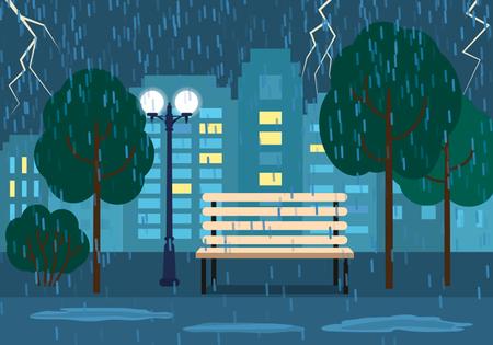 city park skyline: A rainy evening A rainy evening in a city park. concept of autumn. Illustration