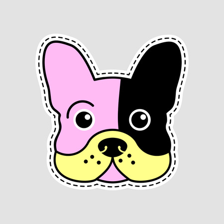 Vector patch in the style of the 80th and 90th - muzzle of a French bulldog.