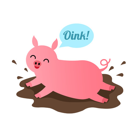 A funny pig is drying in a puddle. Illustration