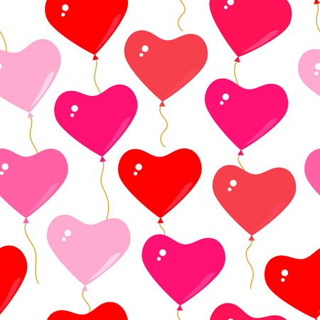 paper background: Seamless background with balloons with hearts, suitable for a party or wedding on Valentines day. Flat vector