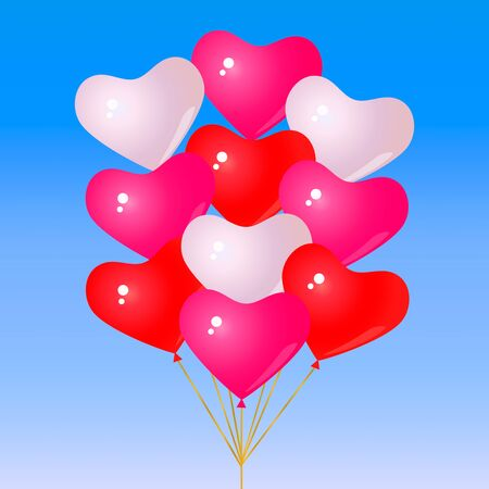 Set of red and pink balloons. Vector illustration. Concept of love Illustration