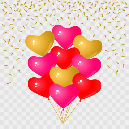 Set of red and pink balloons. Vector illustration.