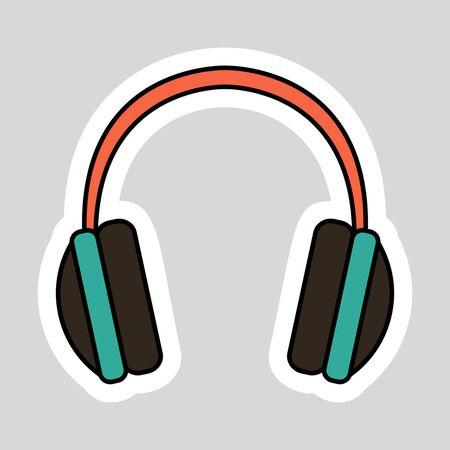 Sticker headphones. Illustration