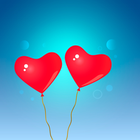 Greeting card. Two red inflatable balls in the sky.