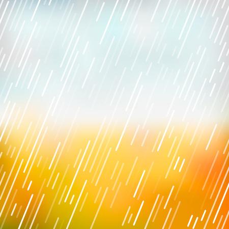 Bright autumnal background with heavy rain. vector illustration Illustration