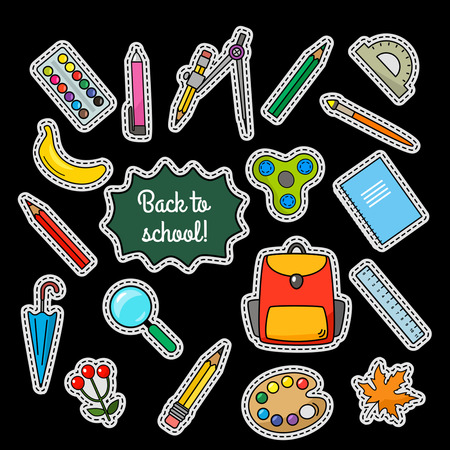 Vector patch set - 80s-90s style design. Concept back, to school! Flat Vector illustration isolated Illustration