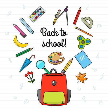 Greeting card - back to school! Concept of autumn and new school year. Flat vector illustration in cartoon style Illustration