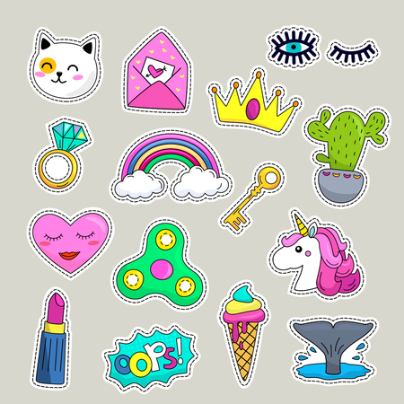 Vector patch set - 80s-90s style design.Flat Vector illustration isolated Illustration