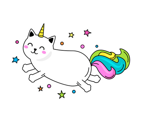 A funny unicorn cat character jumps across the sky. Flat vector illustration