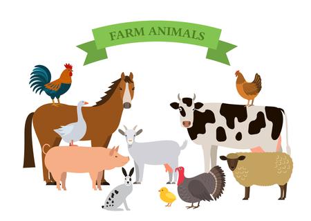 Un conjunto de animales de granja en un estilo de dibujos animados. Ilustración vectorial plana Foto de archivo - 87625719