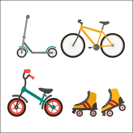 Een set zomermodellen voor transport - een fiets, scooter, rollers. Platte vectorillustratie geïsoleerd op een witte achtergrond